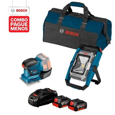 Lixadeira a Bateria Bosch GSS 18V-10, 18V + Lanterna a Bateria Bosch GLI 18V-1900,18V, com 1900 Lúmens + 2 baterias 18V 4,0Ah + 1 carregador simples bivolt 1820 e 1 bolsa de transporte