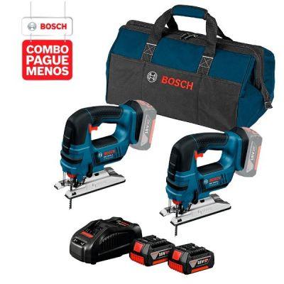 2 Serras Tico-Tico a Bateria Bosch GST 18V-LI, 18V + 2 baterias 18V 4,0Ah + 1 carregador simples bivolt 1820 e 1 bolsa de transporte