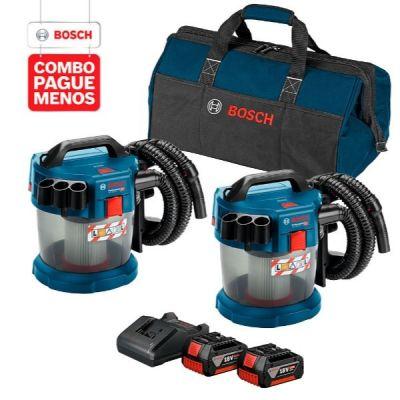 2  Aspiradores de Pó a Bateria Bosch GAS 18V-10 L,18V + 2 baterias 18V 4,0Ah + 1 carregador BIVOLT GAL 18V-20 e 1 bolsa de transporte