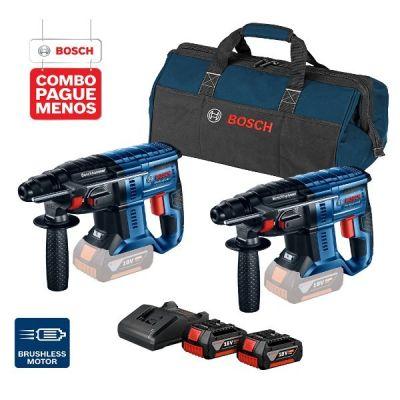 2 Marteletes Perfuradores a Bateria Bosch GBH 180-LI SDS-Plus,18V, 2J EPTA, com 2 baterias 18V 4,0Ah + 1 carregador simples bivolt e 1 bolsa de transporte