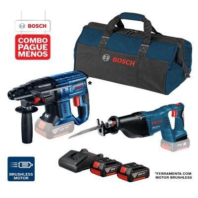 Martelete Perfurador a Bateria Bosch GBH 180-LI SDS-Plus,18V, 2J EPTA + Serra Sabre a Bateria Bosch GSA 18V-LI,18V + 2 baterias 18V 4,0Ah + 1 carregador simples 1820 e 1 bolsa de transporte