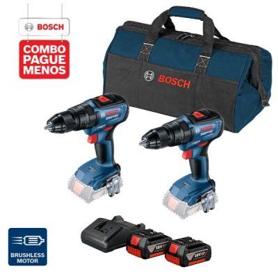 """2 Parafusadeiras e Furadeira de Impacto de ½"""" Bosch GSB 18V-50, 18V + 2 baterias 18V 4,0Ah + 1 carregador simples bivolt 1820 e 1 bolsa de transporte"""