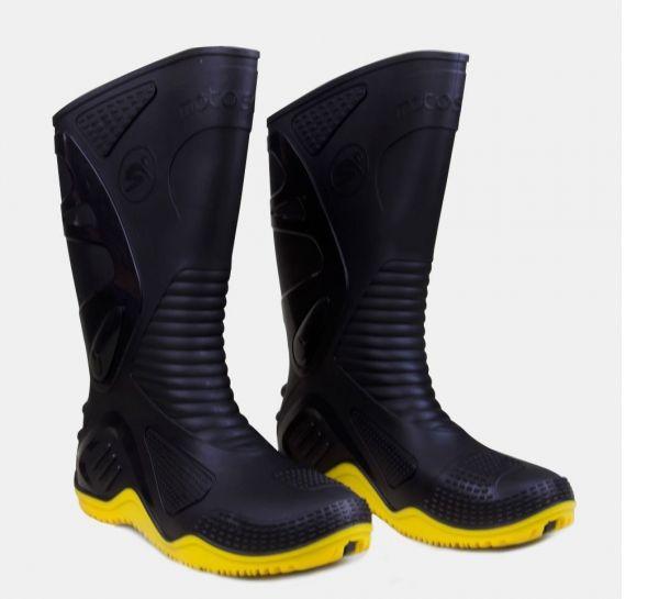 Bota de PVC preta com sola amarela- Motosafe N43