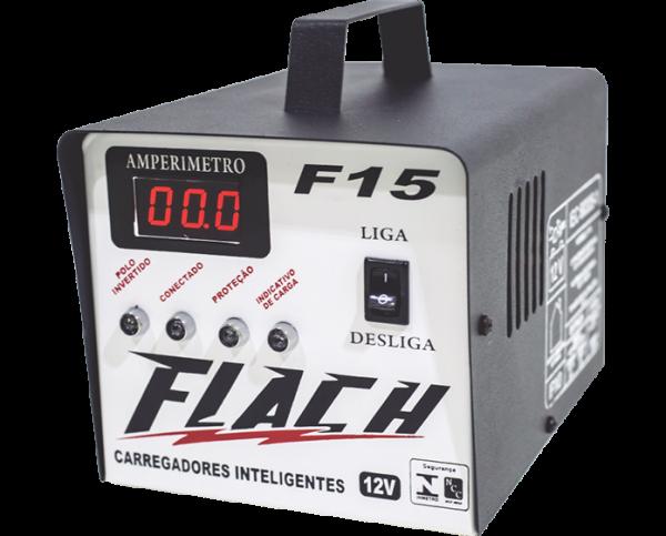 Carregador Inteligente 15a 12v C/aux. Bat. Part. Flach F15