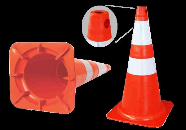 Cone Sinalização Flexível Laranja 50cm com faixa refletiva