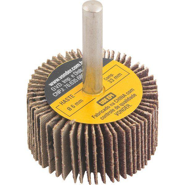 Roda De Lixa 50 X 20mm com Haste Grão 80 Vonder 1271502080