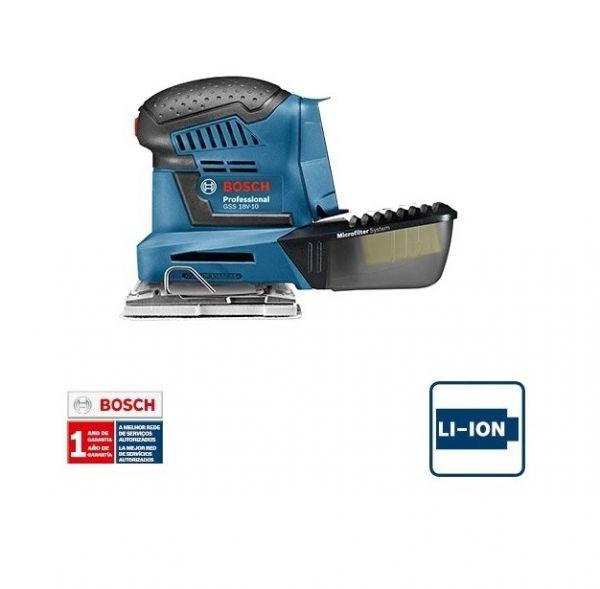 Lixadeira a Bateria Bosch GSS 18V-10, 18V, sem Bateria e sem Carregador, em Caixa de papelão