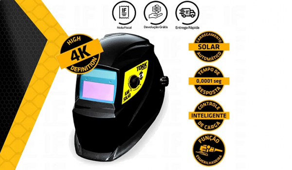 Inversora Micro KAB 150A Bivolt + Máscara de Solda Automática KAB Solar MSEA 901 Tork