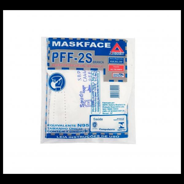 Máscara Pff2 Sem Válvula Maskface Branca Air Safety