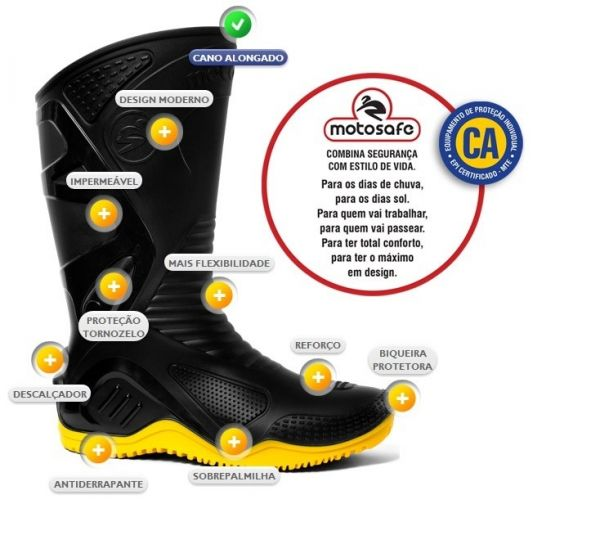Bota de PVC preta com sola amarela- Motosafe N41