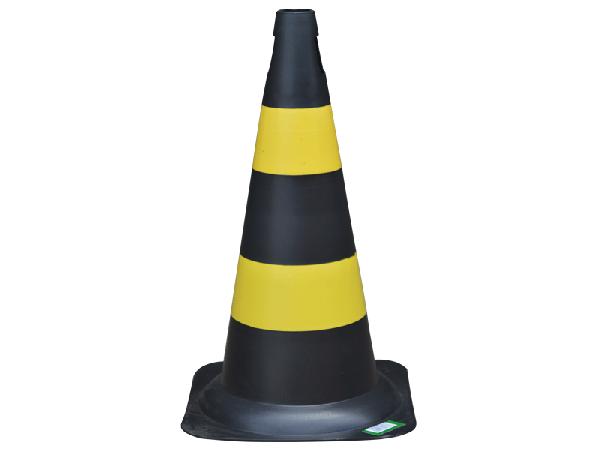 Cone Refletivo Preto e Amarelo 50 cm- Plastcor