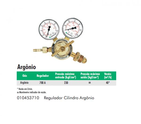 Regulador Cilindro de Argônio Serie 700 Carbografite