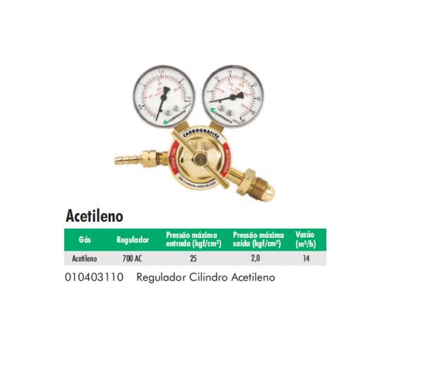 Regulador Cilíndrico de Acetileno Serie 700 Carbografite